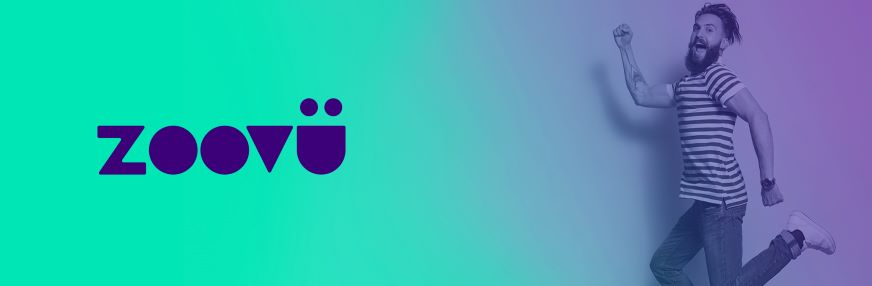 Zoovu logo on a blue/green background with a jumping for joy human