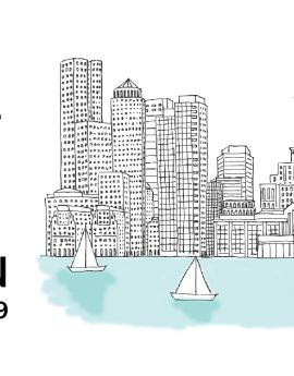 "illustration of boston city skyline and ""Talk UX Boston October 18-19"""
